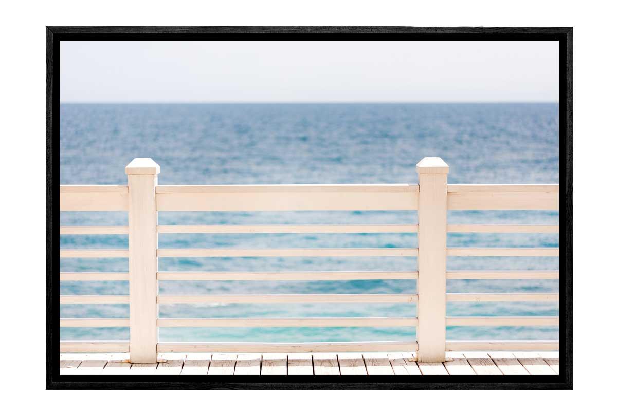 Buy White Ocean Dock Beach Canvas Wall Art Print Online